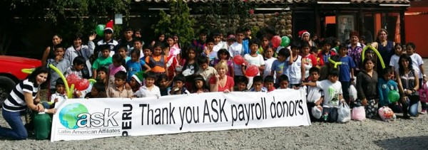 ASK - Action for Street Kids thank Payroll donors