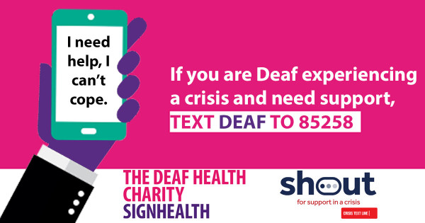 Payroll Giving supporting SignHealth new Crisis Text Line.